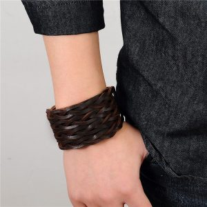 Braided 3 Clasps Wide Cuff Wristband10
