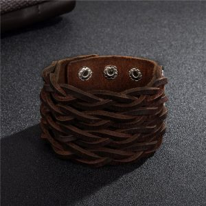 Braided 3 Clasps Wide Cuff Wristband3