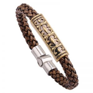 Braided magnetic leather bracelet1