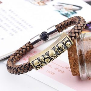 Braided magnetic leather bracelet2