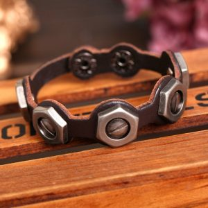 Fashion Screw Design Brown Leather Bracelet