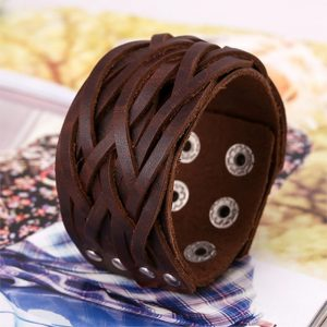 Genuine Leather 3 colour bracelet brown