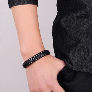 Punk Black Braided Bracelet5