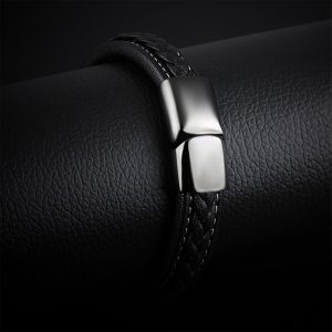 Punk Stainless Steel Magnetic Buckle Leather Bracelet