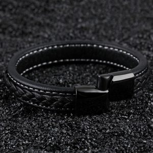 Punk Stainless Steel Magnetic Buckle Leather Bracelet2