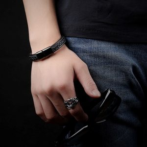 Punk Stainless Steel Magnetic Buckle Leather Bracelet4