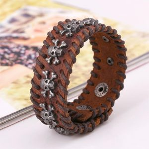 Punk Wide Cuff Leather Bracelet3