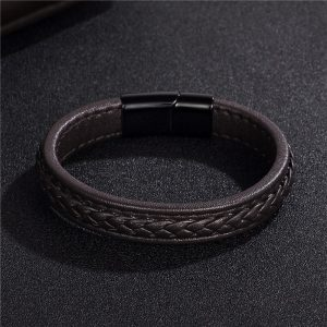 Stainless Steel Black Magnetic Buckle Braided Brown Bracelet15