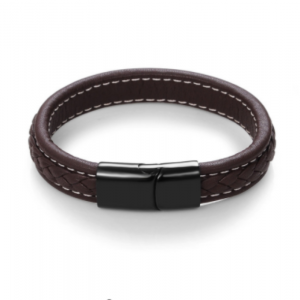Stainless Steel Black Magnetic Buckle Braided Brown Bracelet20