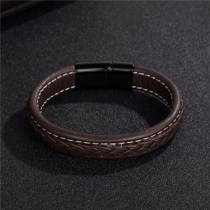 Stainless Steel Black Magnetic Buckle Braided Brown Bracelet9