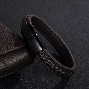 Stainless Steel Black magnetic Buckle Braided Brown Bracelet16