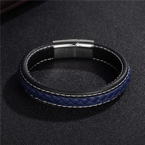 Stainless Steel Magnetic Buckle Braided Blue Bracelet13