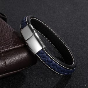 Stainless Steel Magnetic Buckle Braided Blue Bracelet14