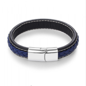 Stainless Steel Magnetic Buckle Braided Blue Bracelet23