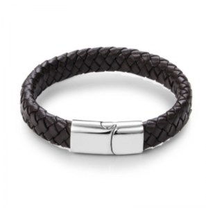 Stainless Steel Magnetic Buckle Braided Brown Bracelet00