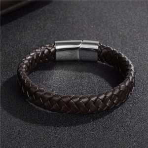 Stainless Steel Magnetic Buckle Braided Brown Bracelet3