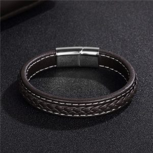 Stainless Steel Magnetic Buckle Braided Brown-white Bracelet11