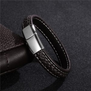 Stainless Steel Magnetic Buckle Braided Brown-white Bracelet12