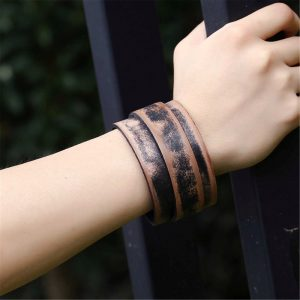 Wide punk cuff leather bracelet