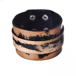Wide punk cuff leather bracelet1