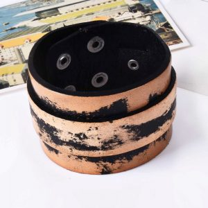 Wide punk cuff leather bracelet3