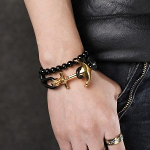 Fashion-Gold-Stainless-Steel-Mens-Braided-Leather-1
