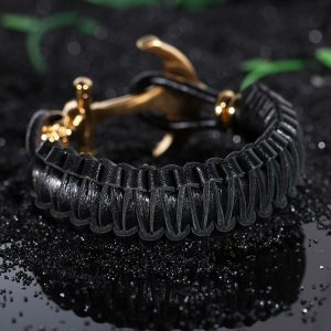 Fashion-Gold-Stainless-Steel-Mens-Braided-Leather-5