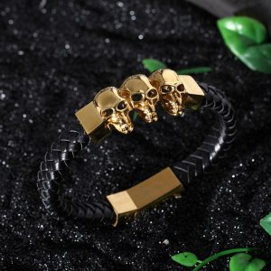 Gold-Skull-Magnetic-Buckle-Braid-Leather-Bracelet-1