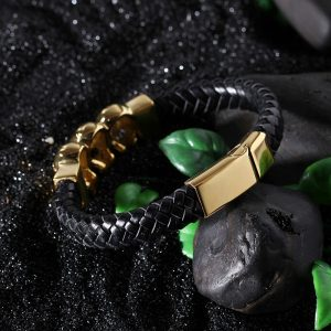 Gold-Skull-Magnetic-Buckle-Braid-Leather-Bracelet-3